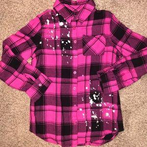 New Justice Plaid flannel shirt w/ splatter design